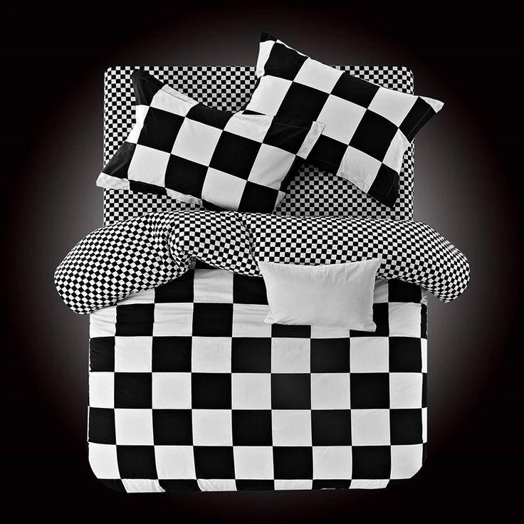 2016 new cotton classic black and white striped Plaid suite bedding set generation