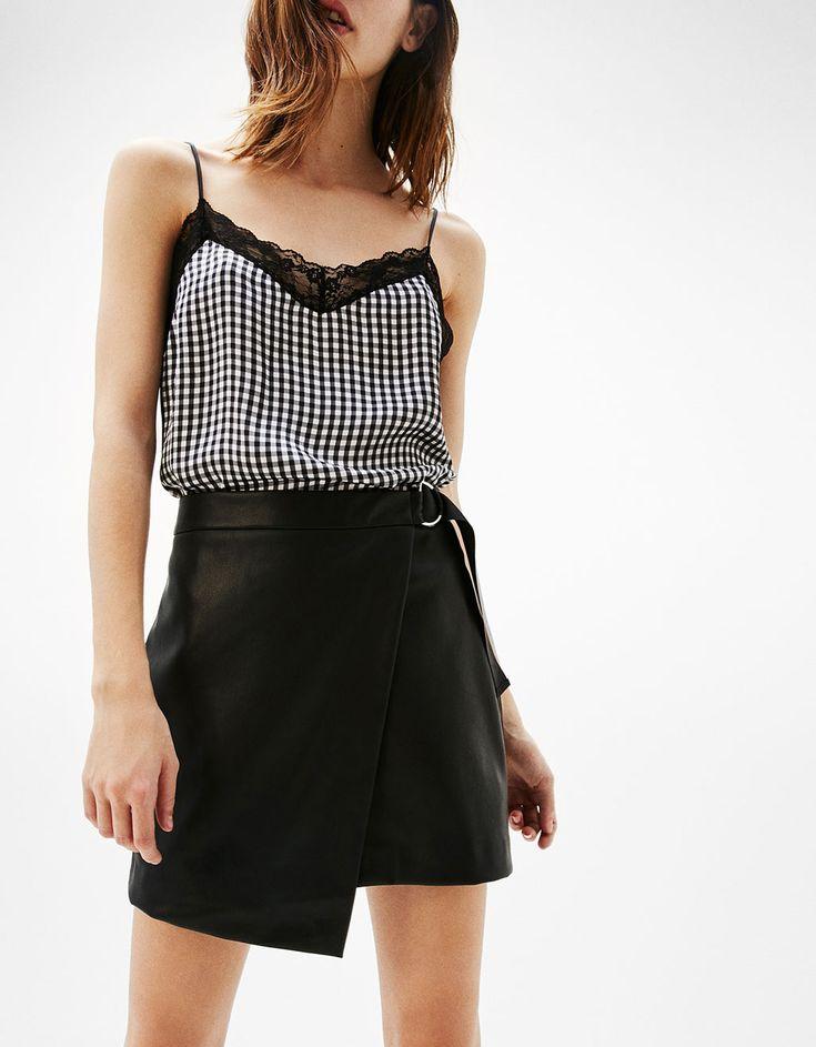 Midi leather-effect skirt - New - Bershka Romania