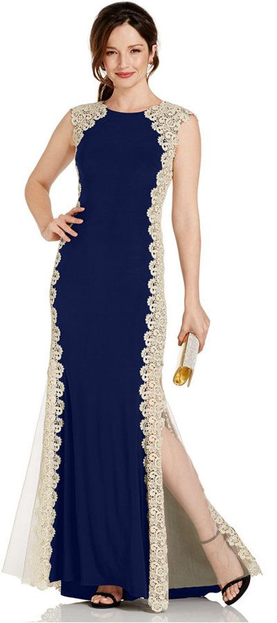 Xscape Crochet Lace Column Gown $249 thestylecure.com