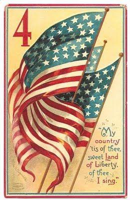 America: July4Th, Vintage Postcards, Flags, America, Fourth Of July, Vintage Card, 4Th Of July, July 4Th, Country Tis