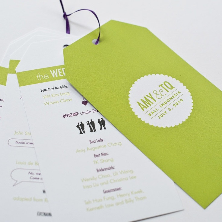 modern hang tag wedding programs by hellotenfold on Etsy, $2.75