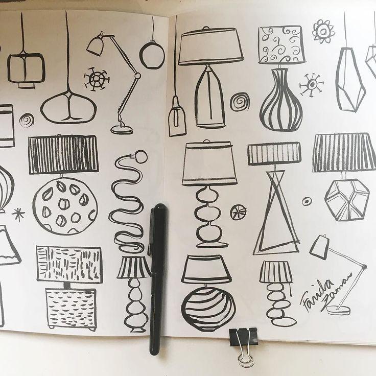 Day 16 #inktober #inktober2017 some wacky funky lamp drawings in #blackandwhite #lineart #lampdesign #homedecor #wallpaperdesign #wrappingpaperdesign