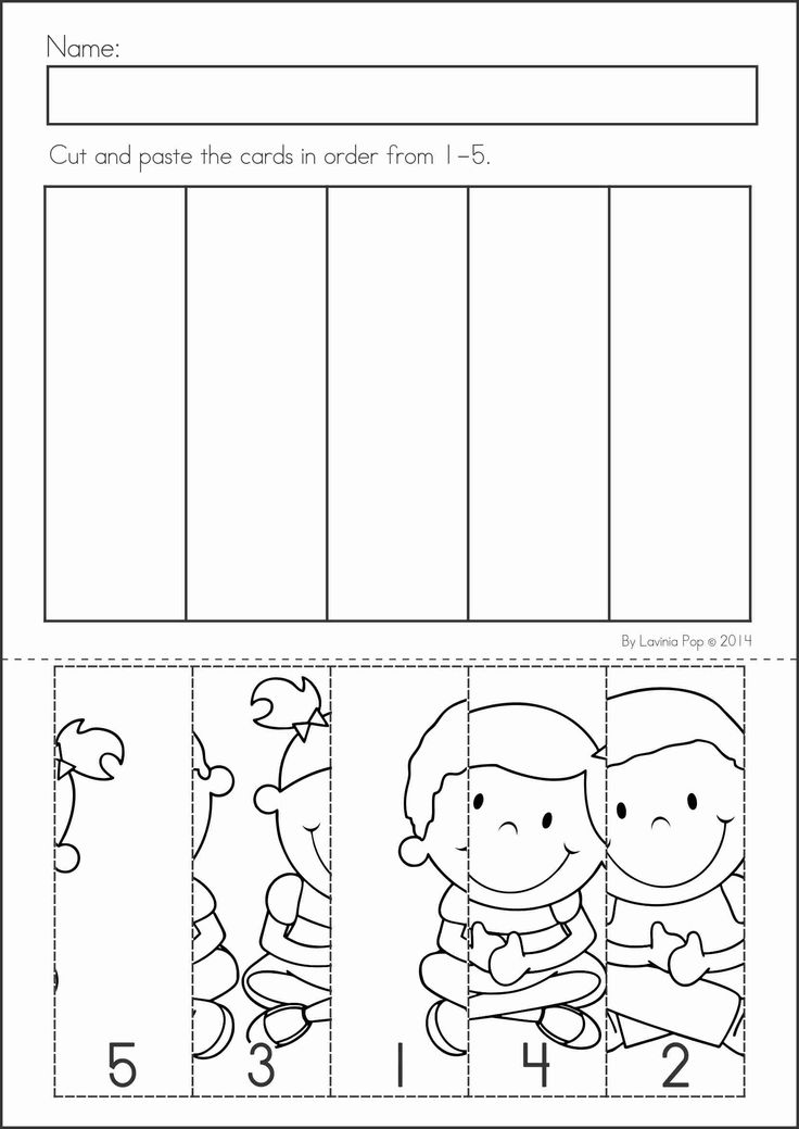 Kindergarten Back to School Math & Literacy Worksheets and Activities. 135 pages. A page from the unit: number order cut and paste