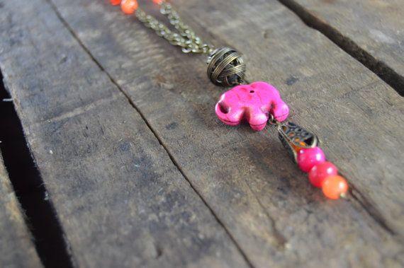 Hot Pink Elephant Necklace by AmarisJewelry on Etsy