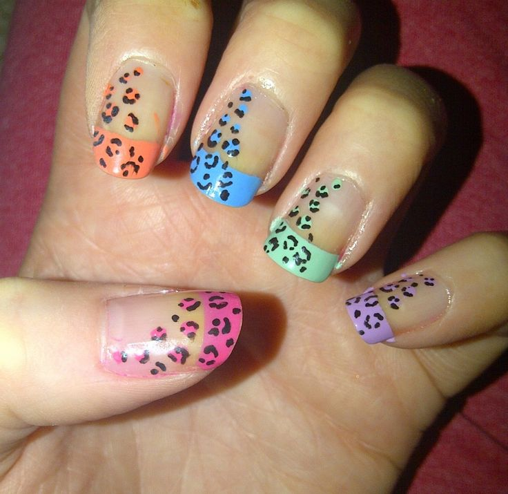 Different Color Leapord Nails Designs