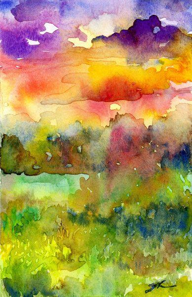 Pintura acuarela paisaje original - puesta de sol cielo