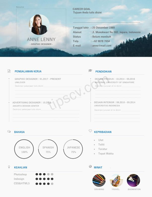 Download Contoh Cv Kreatif Doc Pdf Diah Ayu Pinterest Pdf Web