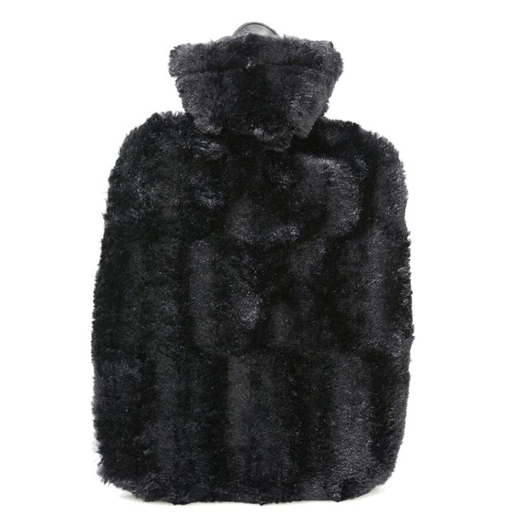 1.8 Litre Hot Water Bottle with Black Luxury Faux Fur Cover (rubberless) - Hotwaterbottleshop.co.uk