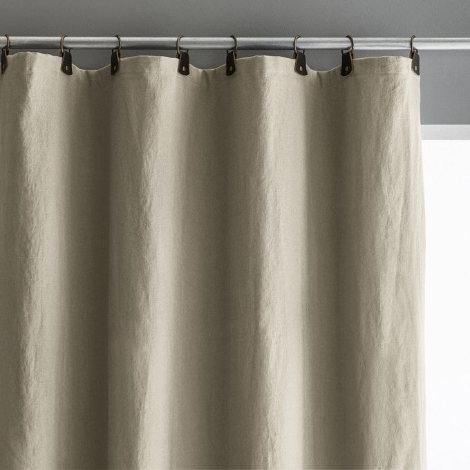 Private Single Linen Lined Blackout Curtain With Leather Tabs In 2020 Curtains Blackout Curtains Linen Blackout Curtains