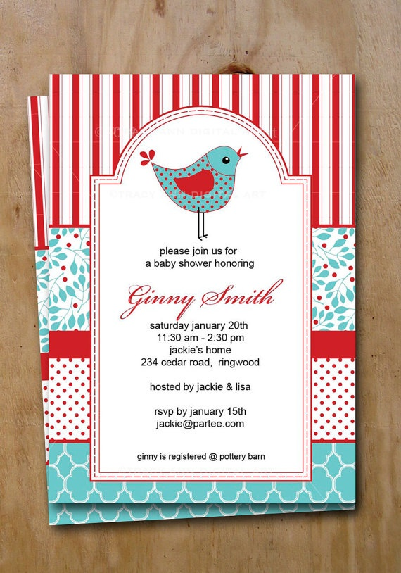 Baby Shower Invite Red and Blue Printable Birthday Invitation Ginny 3