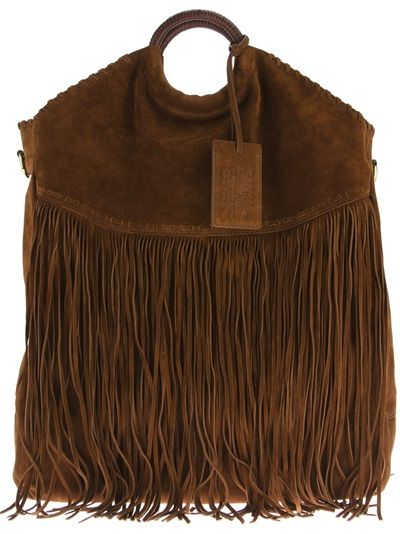 RALPH LAUREN Fringed Tote Bag Crazy expensive at >$1,200. BUT, any reasonably price knock-off is welcome in my wardrobe.