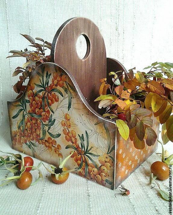 Купить Короб для специй Облепиховыйв стиле кантри. - короб для хранения, винтажный стиль, короб для кухни
