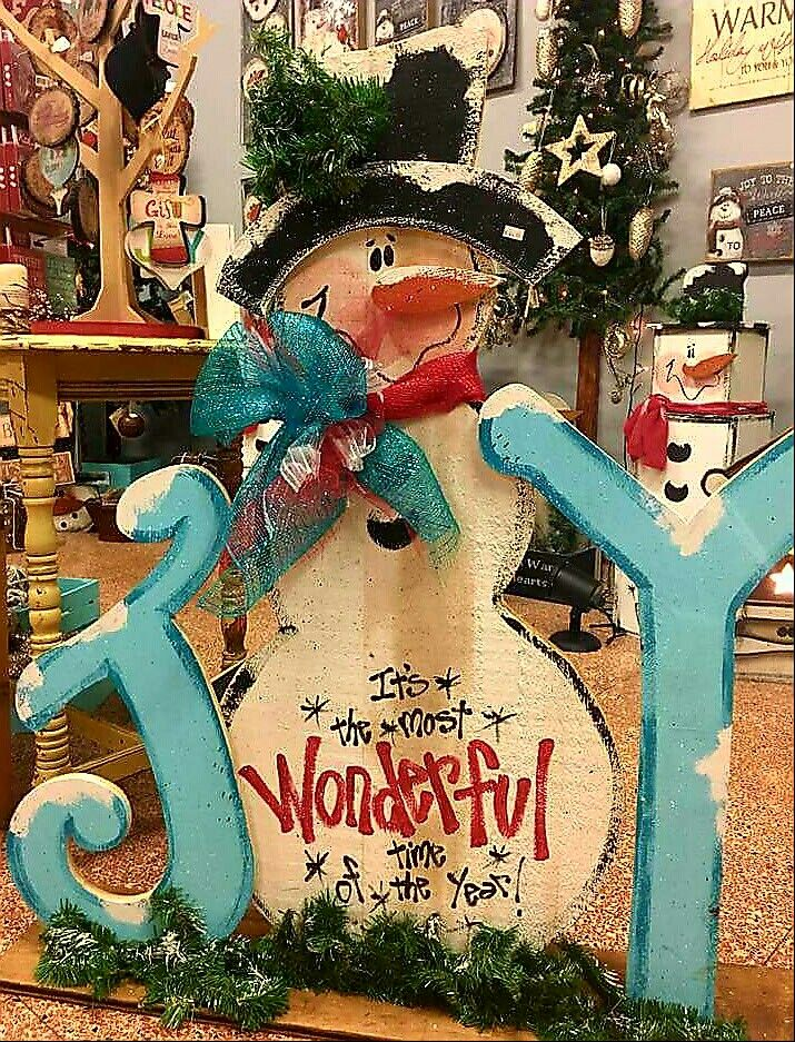 cute wood joy sign with snowman big wood craft christmas wood craftschristmas artvintage - Painted Wood Christmas Yard Decorations