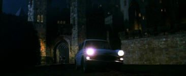 Ron's flying Ford Anglia driving into Alnwick Castle's Lion Arch