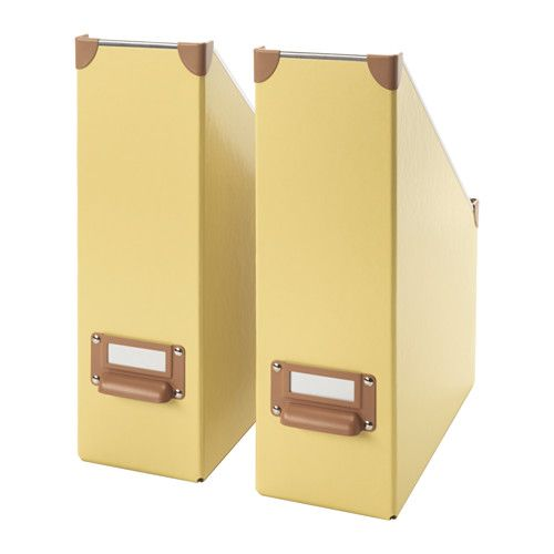 IKEA - FJÄLLA, Magazine file, yellow, , Easy to pull out and lift as the magazine file has a handle.The label holder helps you organize and find your things.