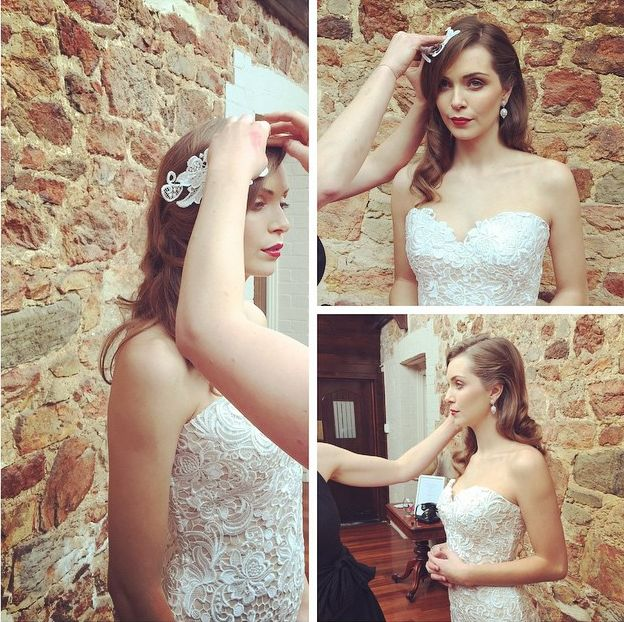 Behind the Scenes -- Our 'Gia' gown styles perfectly with matching Guipure lace headpiece
