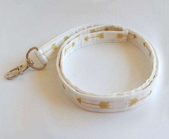 Arrow Lanyard / White & Gold / Boho Keychain / Bohemian / Shimmering Gold / Key Lanyard / Tribal / ID Badge Holder / Fabric Lanyard  Cute shimmering