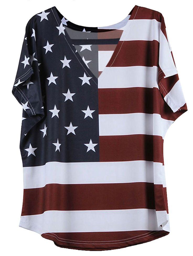 New Fashion Patriotic Casual Loose Shirt American Flag Printing T-shirt