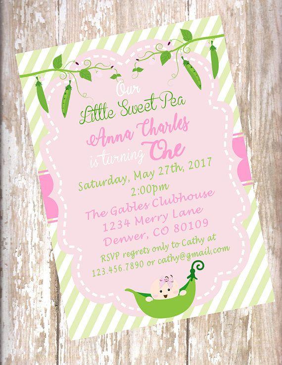 Sweet Pea 1st Birthday Invitation Baby Shower Pink