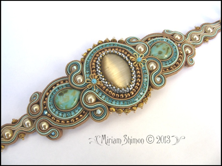 Soutache bracelet in Mint Chocolate Cream and Gold by MiriamShimon