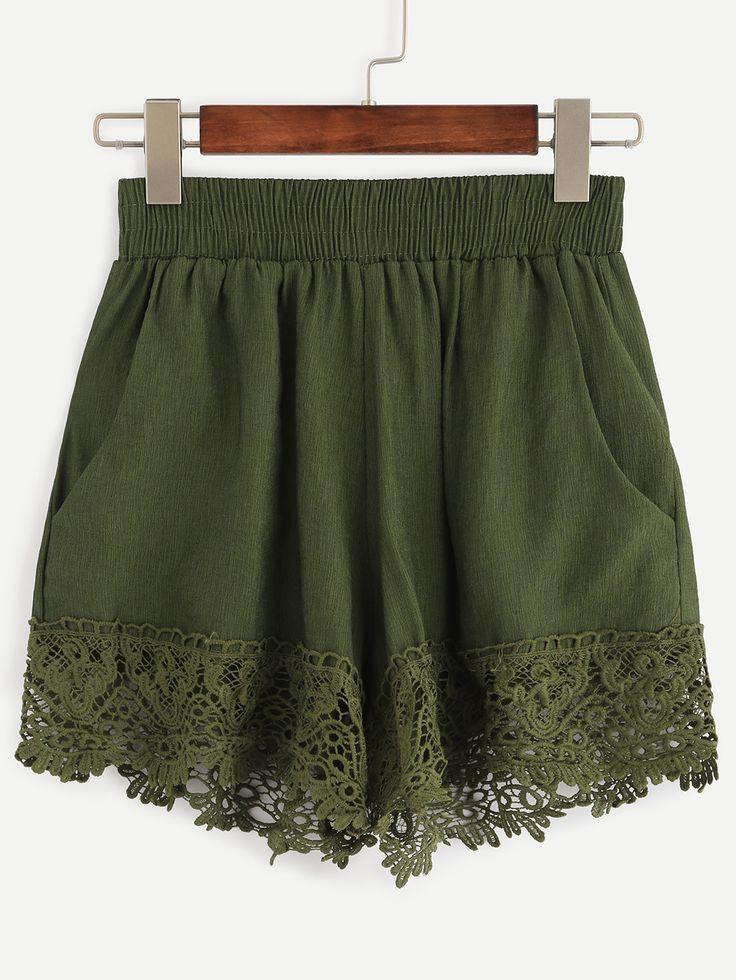 Shop Olive Green Lace Trimmed Elastic Waist Shorts online. SheIn offers Olive Green Lace Trimmed Elastic Waist Shorts & more to fit your fashionable needs.