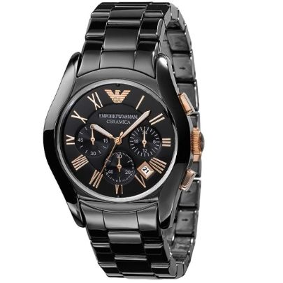 Emporio Armani Gents Rose Gold Plated Black Chronograph Dial Black Ceramic Bracelet Watch AR1410