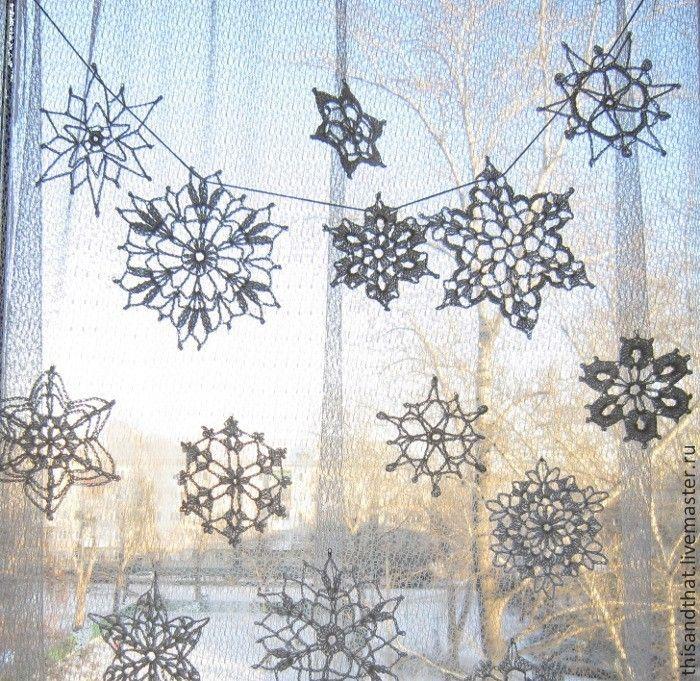 Купить Снежинки вязаные 15 шт. Новогодний декор для дома. - белый, снежинки…