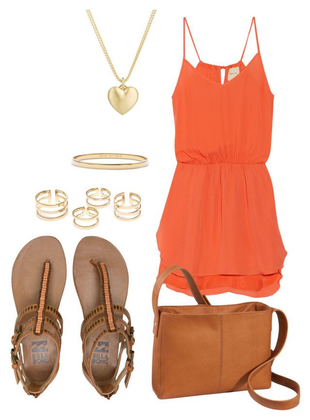 Orange Short Dress by zana-k on Polyvore featuring polyvore, fashion, style, Mason by Michelle Mason, Billabong, Le Donne, Finn, Kate Spade, clothing and orangedress