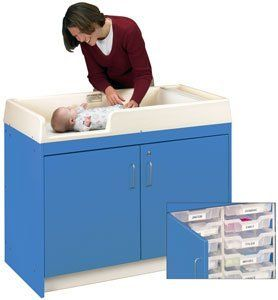 Infant Changing Table - 6-Bin Storage . $619.95. Tot Mate's Infant Changing Table will keep diaper changes safe and efficient. Each table has a seven-inch deep changing well to prevent falls. The scratch and stain resistant laminate surface is easy to keep clean. Rounded edges on the single piece molded top provide added safety and discourage dirt from collecting. A large storage area in the base provides easy access to diapers, wipes and other supplies. This ...