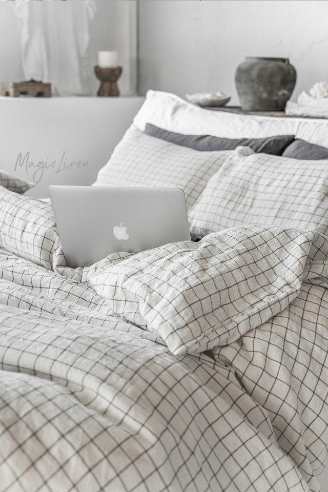 Charcoal Grid Linen Duvet Set In 2021 Bed Linen Sets Linen Sheet Sets Bed Linens Luxury