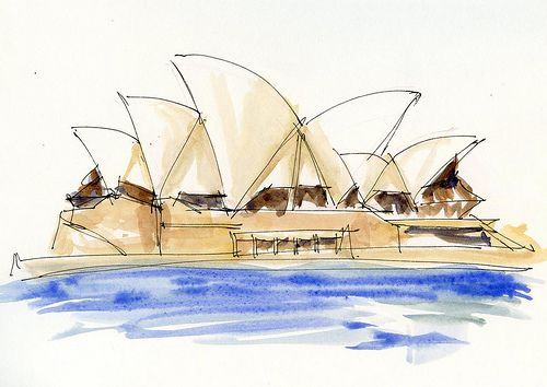 ANZAC Day sketches : Liz Steel: Watercolor elevation.  Heavy use of watercolor paint with little bleed.  Suggest an inappropriate paper for media.