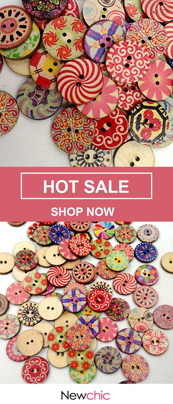 UP to 52% OFF — 100Pcs Retro Wooden Sewing Buttons DIY Craft Bag Hat Clothes De…