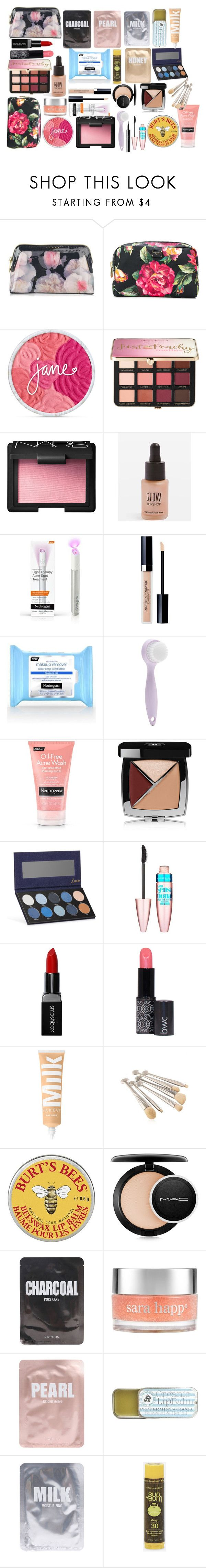 """""""Emily's Make-up Bag!"""" by tiaban ❤ liked on Polyvore featuring Ted Baker, Dolce&Gabbana, Sephora Collection, NARS Cosmetics, Topshop, Therapy, Christian Dior, Forever 21, Neutrogena and Chanel"""
