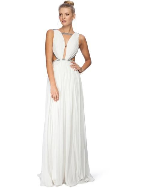 An evening dress with a clutch and heeled sandals. check it out at Mariessa.com