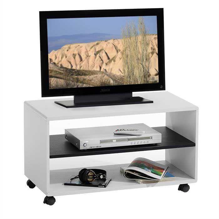 Meuble Tv Sur Roulettes Mdf Blanc Noir Achat Vente Meuble Tv Sur Roulettes Mdf Blanc Noir Tv Rack Tv Unit Decor Tvs