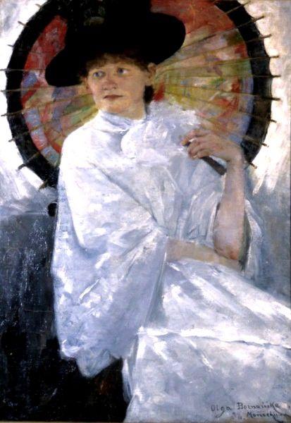 Olga Boznanska (Polish, 1865-1945) Portret młodej kobiety z czerwoną parasolką (Portrait of a young woman with red parasol, 1886