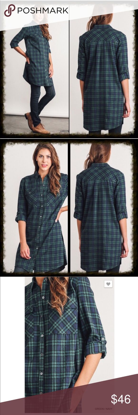 "Button Up Plaid Flannel Tunic with Side Slits Button Up Plaid Flannel Tunic with Side Slits. Sleeves can be unrolled and worn at full length.  60% cotton 40% polyester. Hand wash and hang to dry. Measurements:  Medium armpit to armpit = 20.5"" Length: approximately 38""-39""   🙂 wear it layered as seen in last pics Tops Tunics"