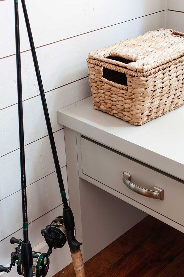 Mudroom Storage Bins : In the mudroom fishing poles and tackle a chindi