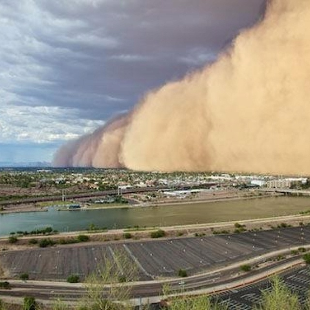 Phoenix, Arizona, USA. Haboob dust storms engulf the greater Metro area, almost yearly. Haboobs only occur here, and in the Iraqi desert. Fact.