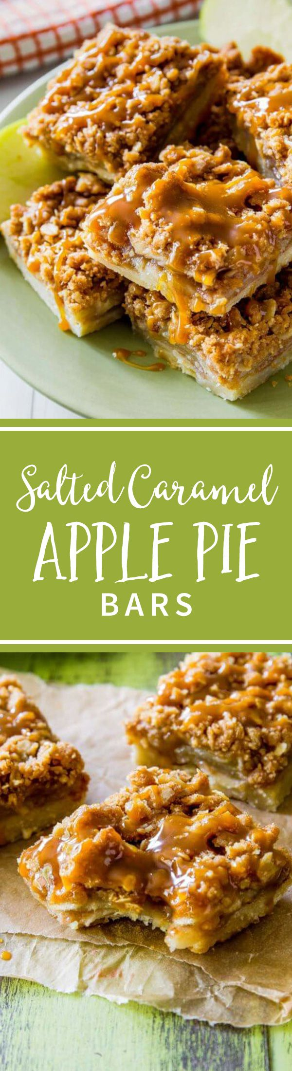 These Salted Caramel Apple Pie Bars are mind-blowing delicious! So much easier to make than an entire apple pie, too. Recipe on sallysbakingaddiction.com