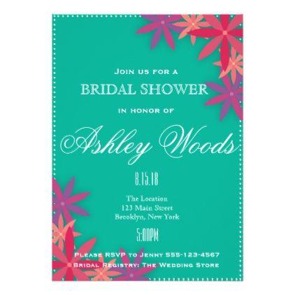 #simple - #Teal Floral Bridal Shower Card