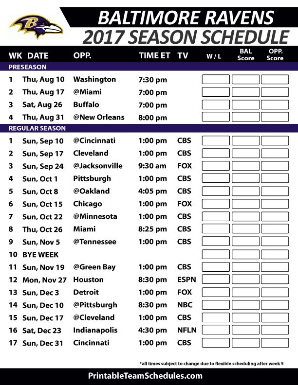 Baltimore Ravens Football Schedule 2017 https://www.fanprint.com/licenses/baltimore-ravens?ref=5750