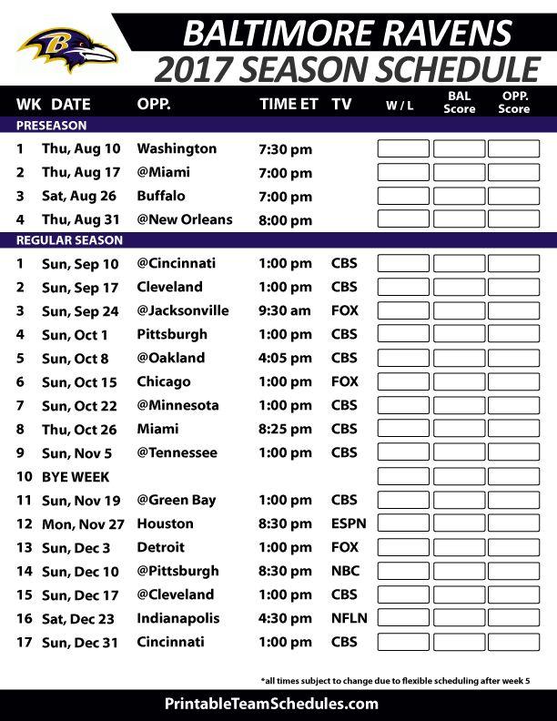 Baltimore Ravens Football Schedule 2017