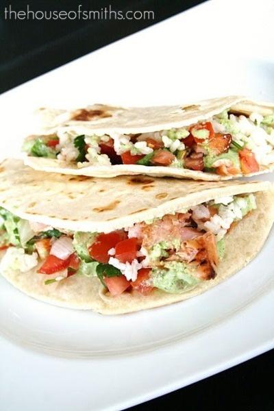 Fish Tacos.: Tomatillo Dressing, Fish Tacos, Homemade Flour Tortillas, Cooking Salmon, Fresh Salsa, Salmon Tacos, Cilantro Lime Rice, Creamy Tomatillo, Lime Sauce