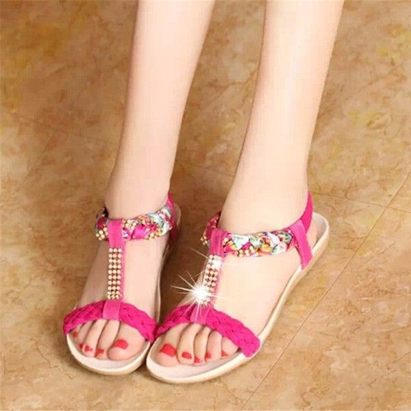 Women Summer Chic Sandals Beach Rhinestone Peep Toe Shoes Flat Sandals