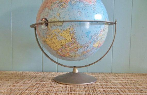 "Replogle 12"" Comprehensive Globe on Metal Stand, 1964, world globe, home office decor, maps, travel themed room, kids room, teen dorm decor"