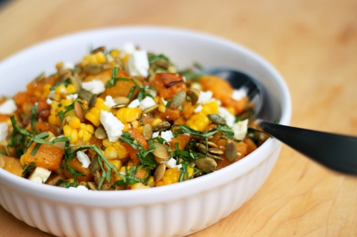 roasted butternut and corn salad with garden herbs