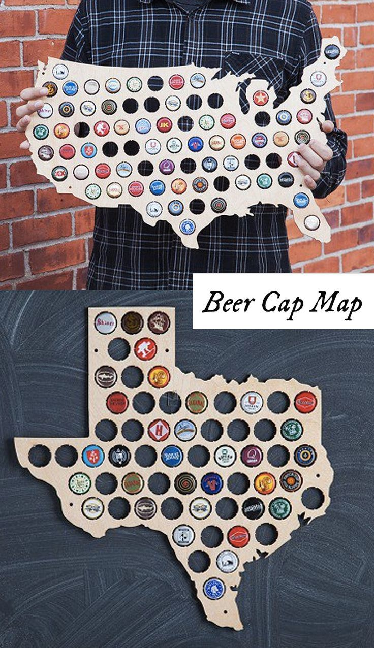 "Beer Cap Trap creates laser-cut wooden wall maps made to display the caps of your favorite local brews. An eye-catching, American-made gift for craft beer lovers and anyone who likes to ""drink local."" Available in the shape of each U.S. state. DIY Ideas, Easy DIY"