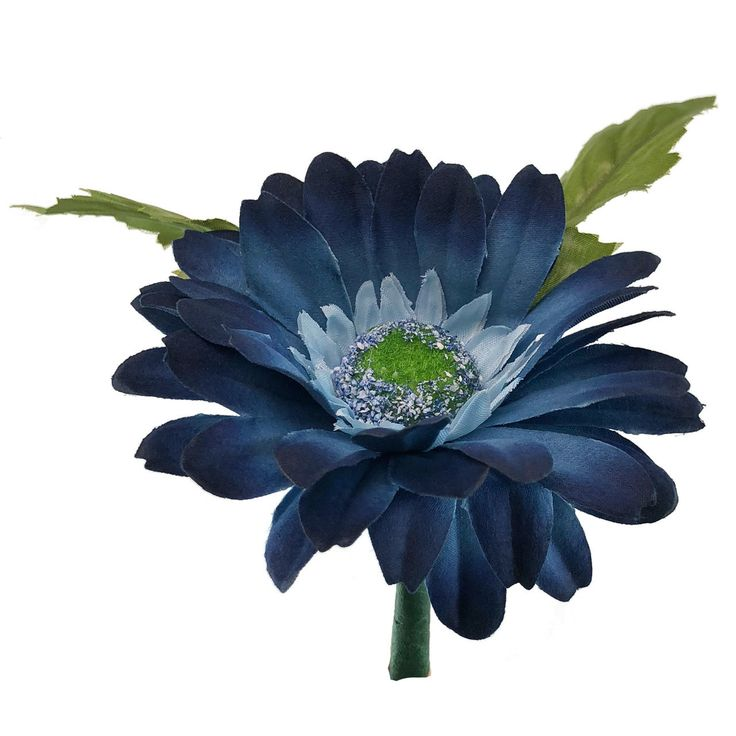 Blue Daisy Boutonniere - Mens Silk Bridal Wedding Flowers - Groom Prom - TheBridesBouquet.com