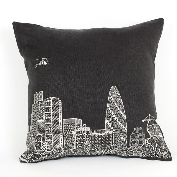 The Gherkin by night cushion from the Scenic range. Machine embroidery on grey, 100% linen. Available to buy from:  Www.charlenemullen.com